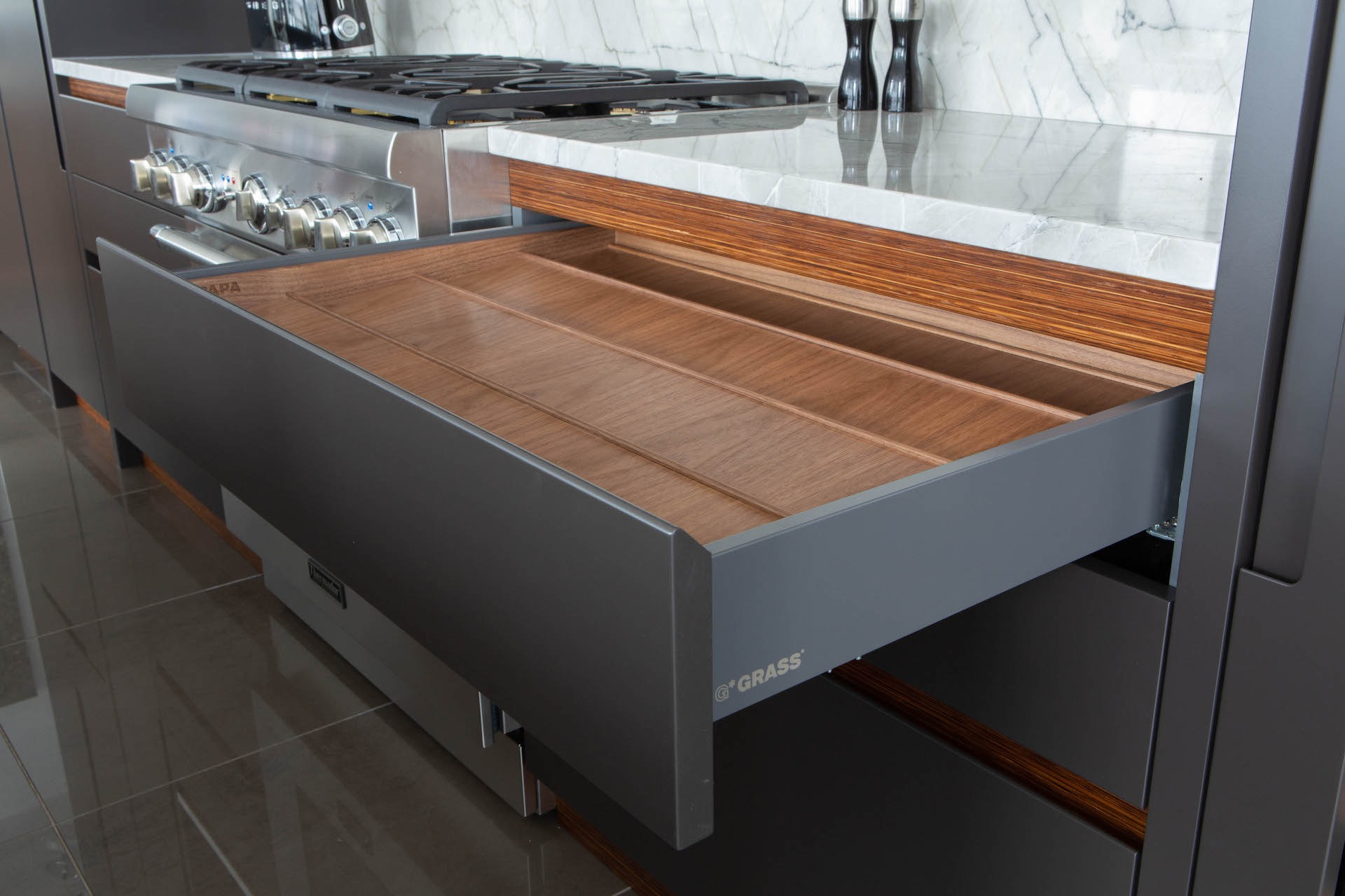 open metal and wood drawer