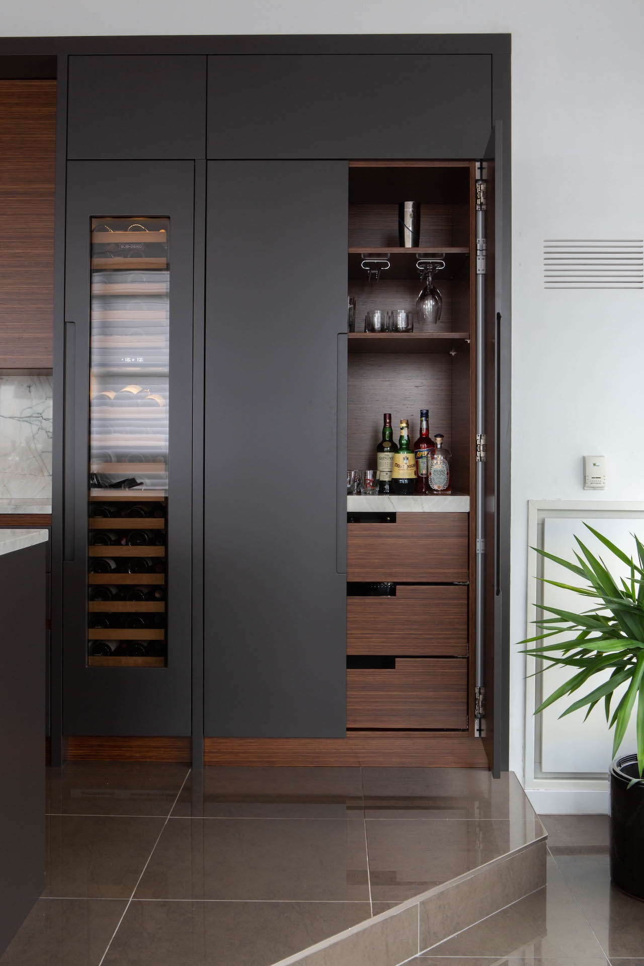 dark and light wood kitchen with open pantry