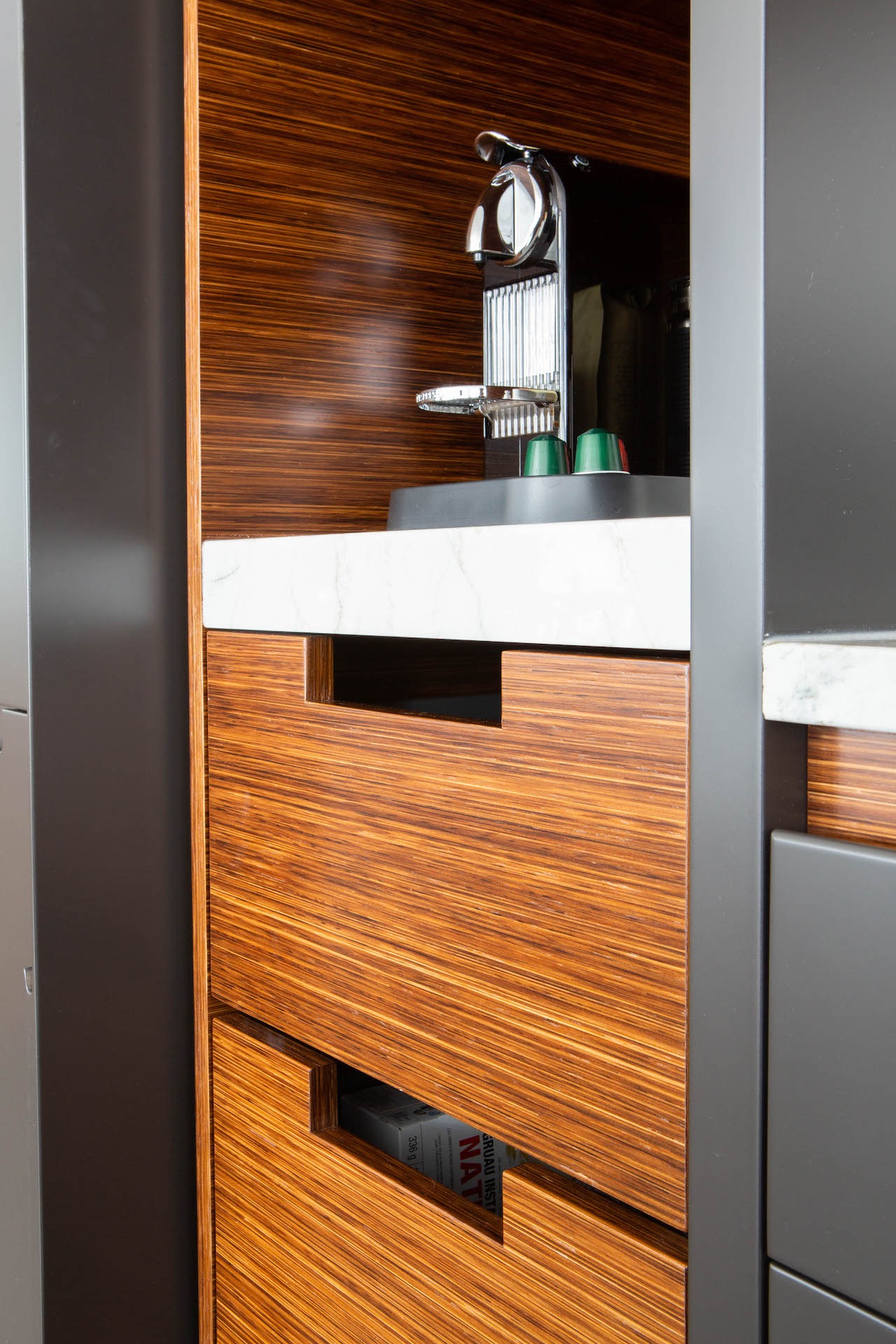 Wood drawers with espresso machine
