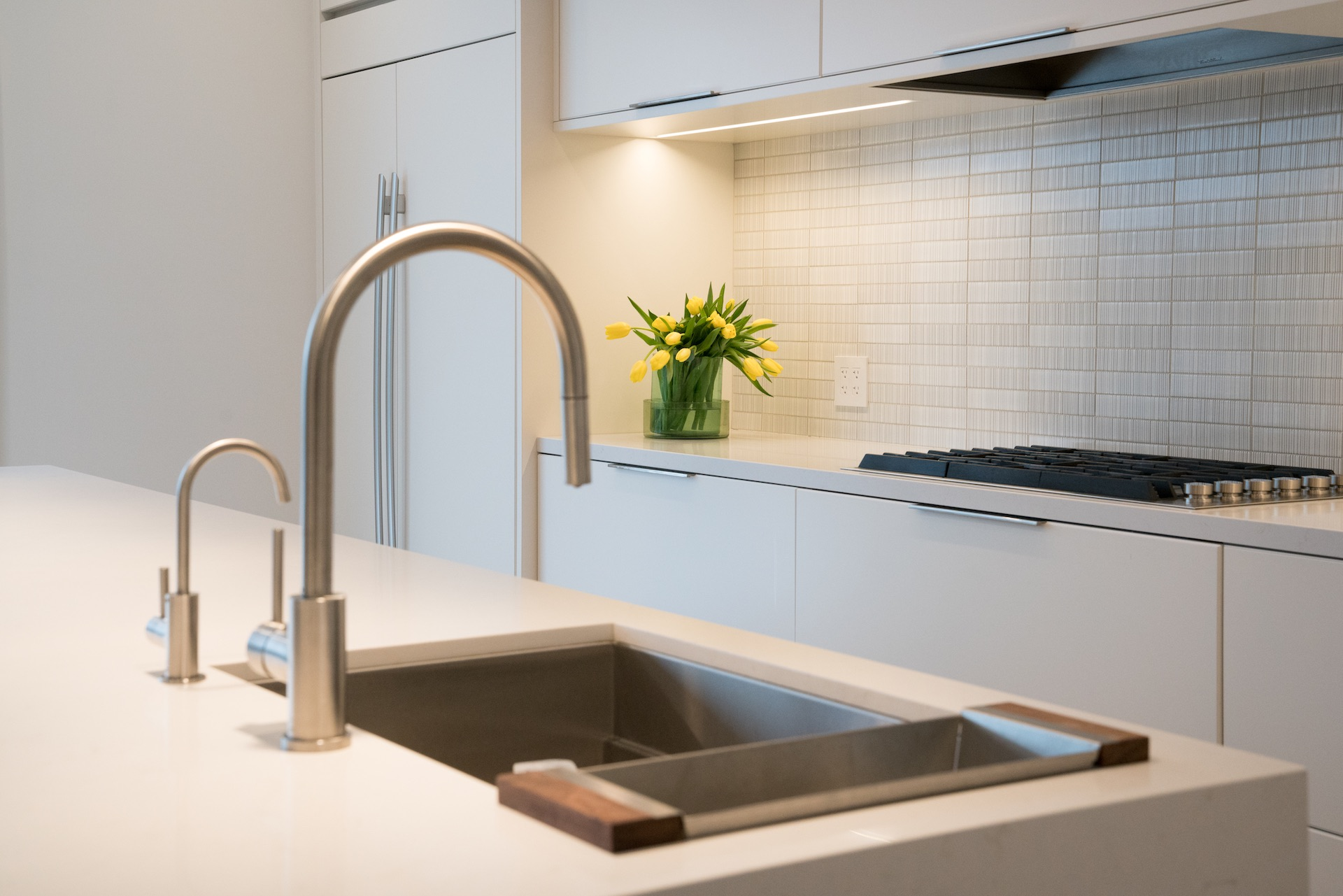 Sink with silver faucet