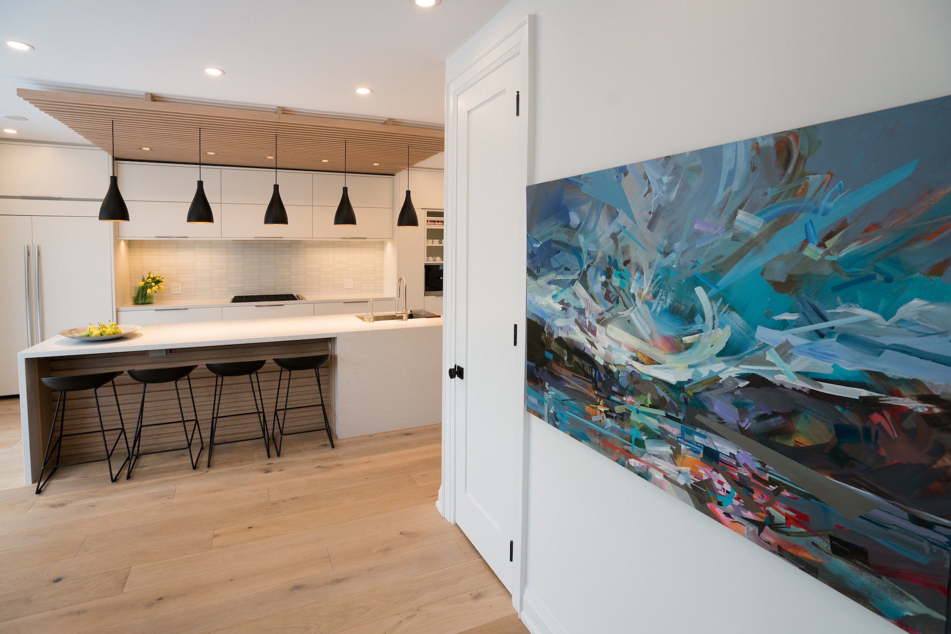 contemporary art on wall in kitchen