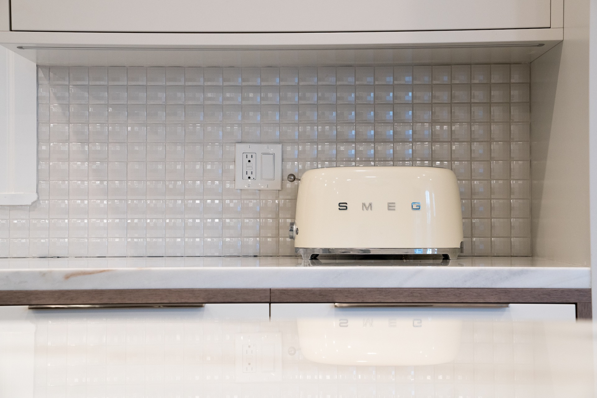 kitchen counter with toaster