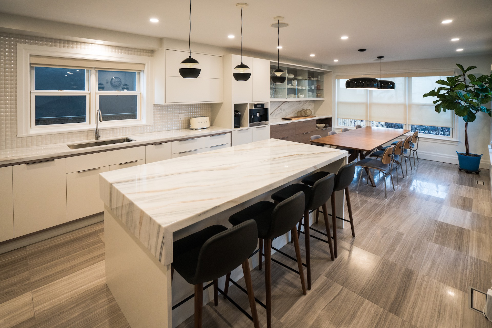 White kitchen with marble counter