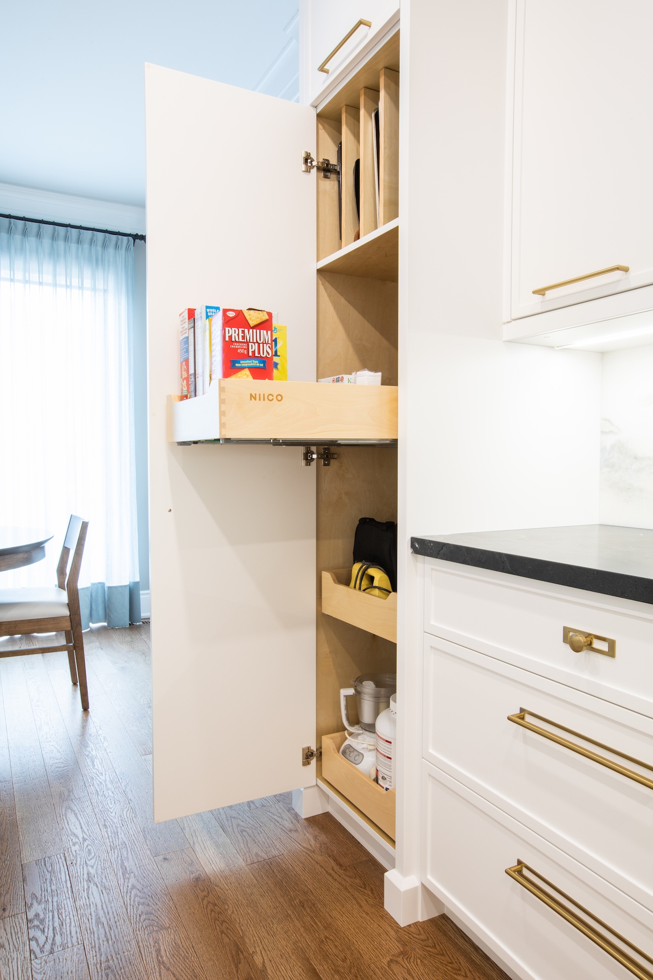 Tall pantry cabinet open