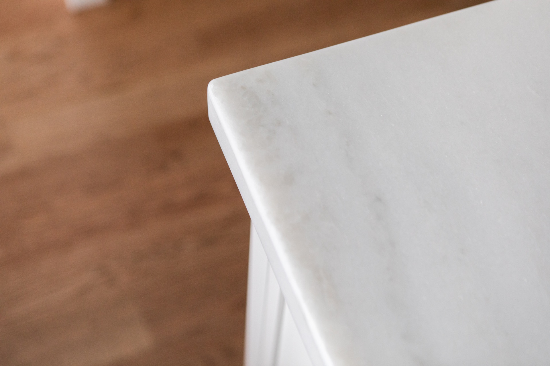 White marble counter top