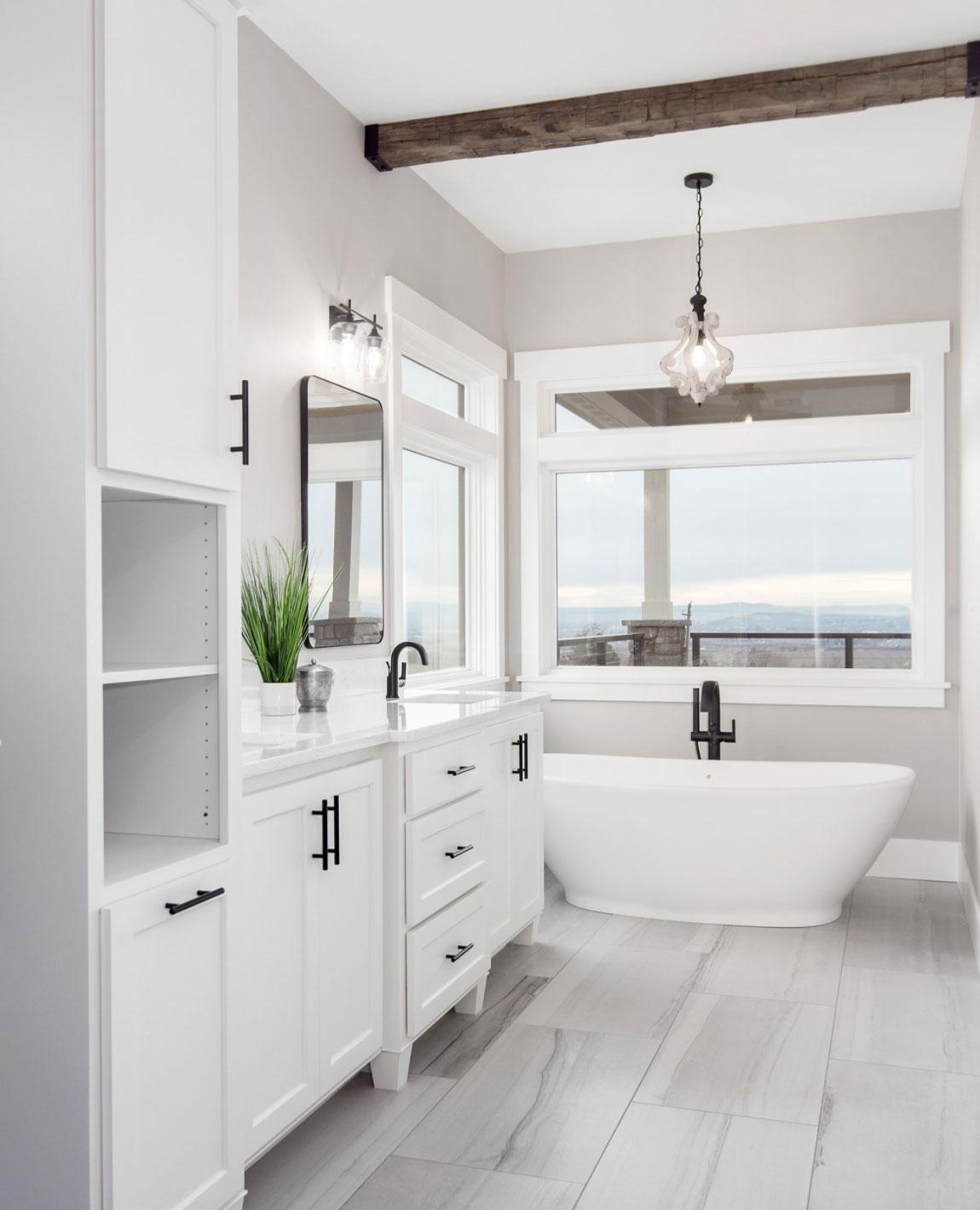 Modern Farmhouse Bathroom Ceiling Beam