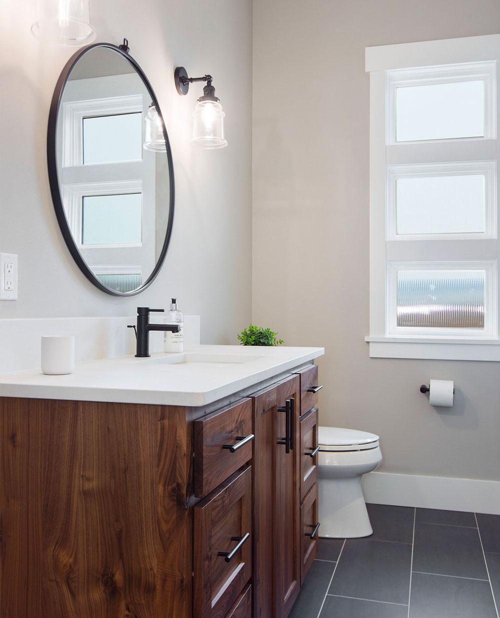 Modern Farmhouse Guest Bathroom Wood Vanity