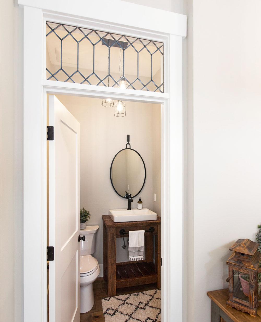 Modern Farmhouse Powder Room Wood Vanity