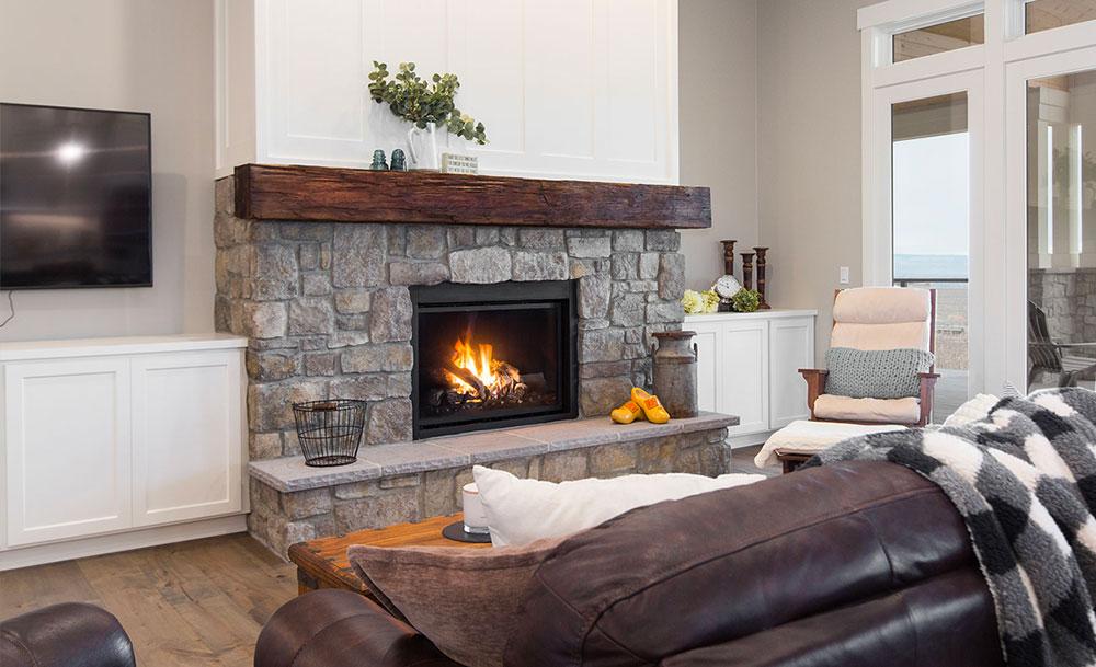 Modern Farmhouse Living Room Stone Fireplace