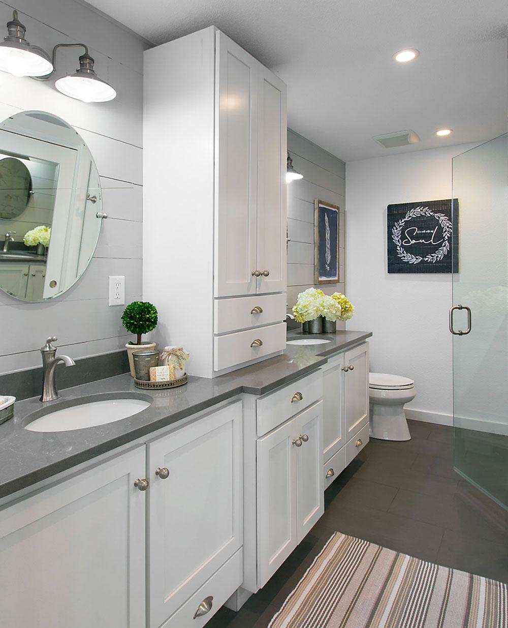 Bright White Transitional Modern Ranch Master Bathroom