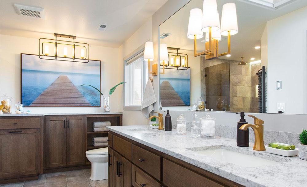 Transitional Master Bathroom Wood Cabinets