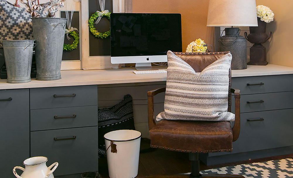 Modern Ranch Home Office Gray Cabinets