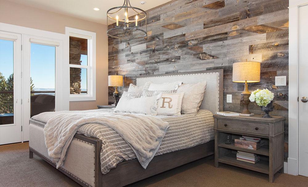 Rustic Lodge Master Bedroom Wood Wall