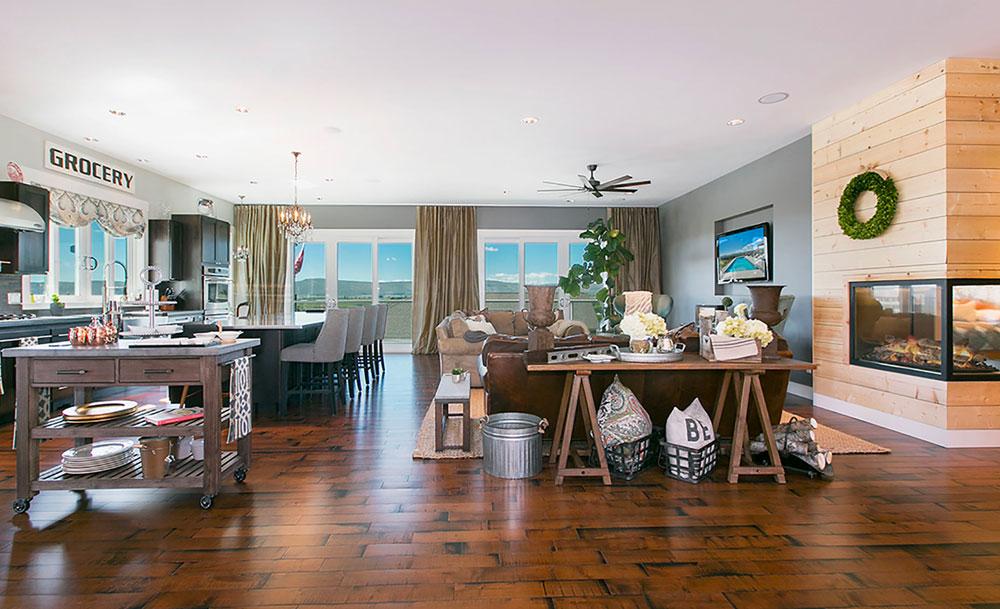 Transitional Living Room Wood Flooring