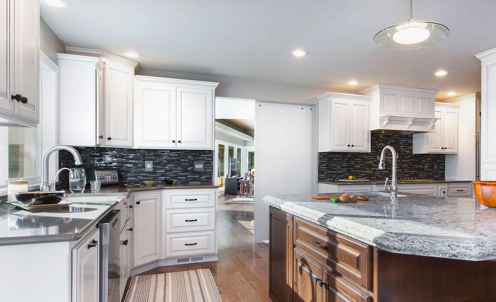 Transitional Kitchen Grays Whites