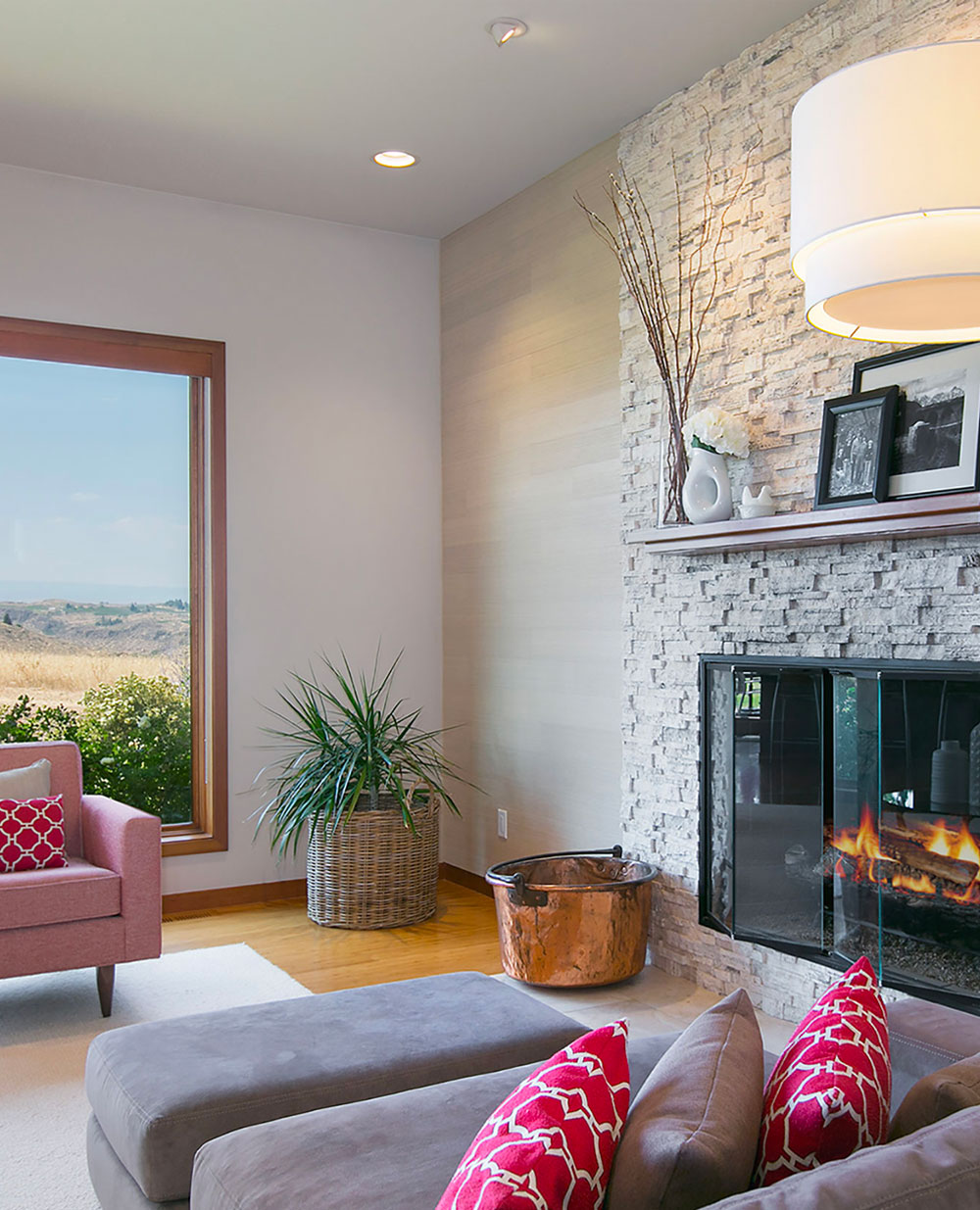 Transitional Living Room Light Stone Fireplace