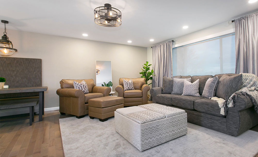 Transitional Living Room Round Industrial Lighting