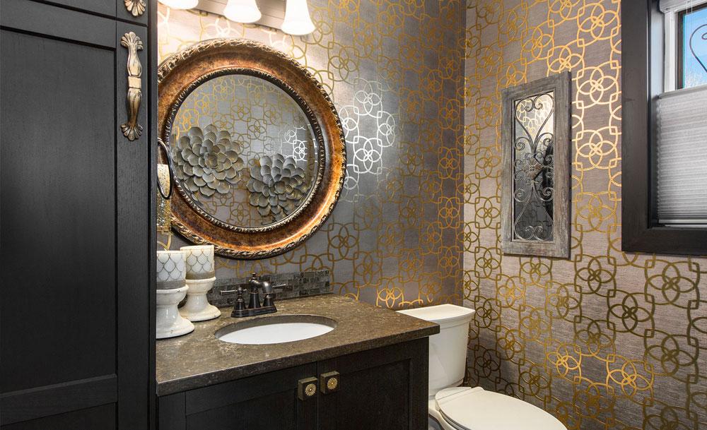 Master Bathroom Metallic Wallpaper