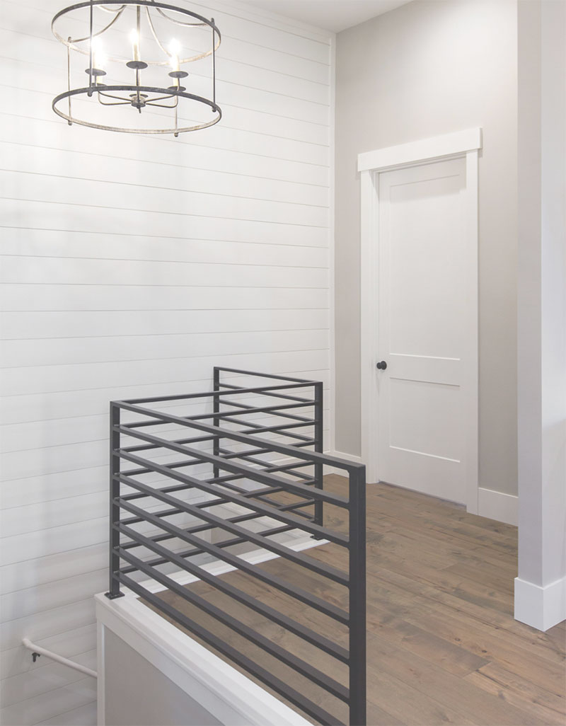 Modern Farmhouse Industrial Custom Stairwell and Lighting