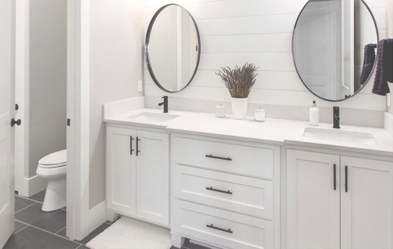 Modern Farmhouse Bathroom Double Vanity & Round Mirrors