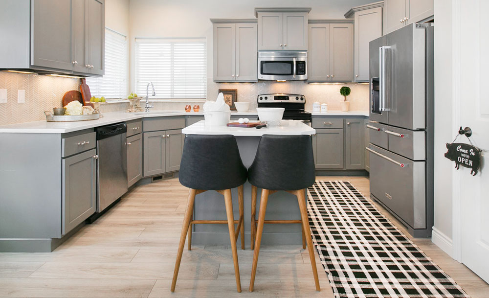 Transitional Kitchen Gray Cabinets