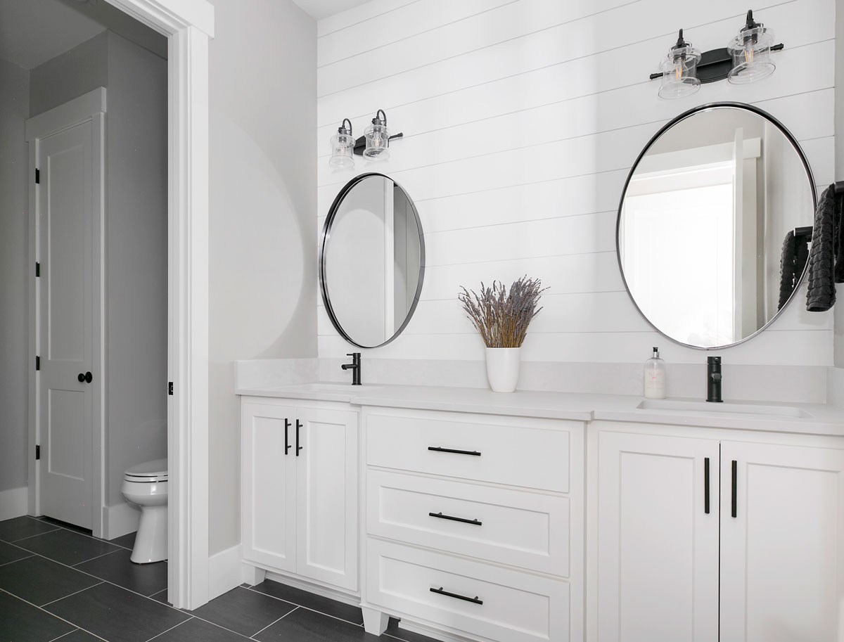 Modern Farmhouse Bathroom Double Vanity & Round Mirrors