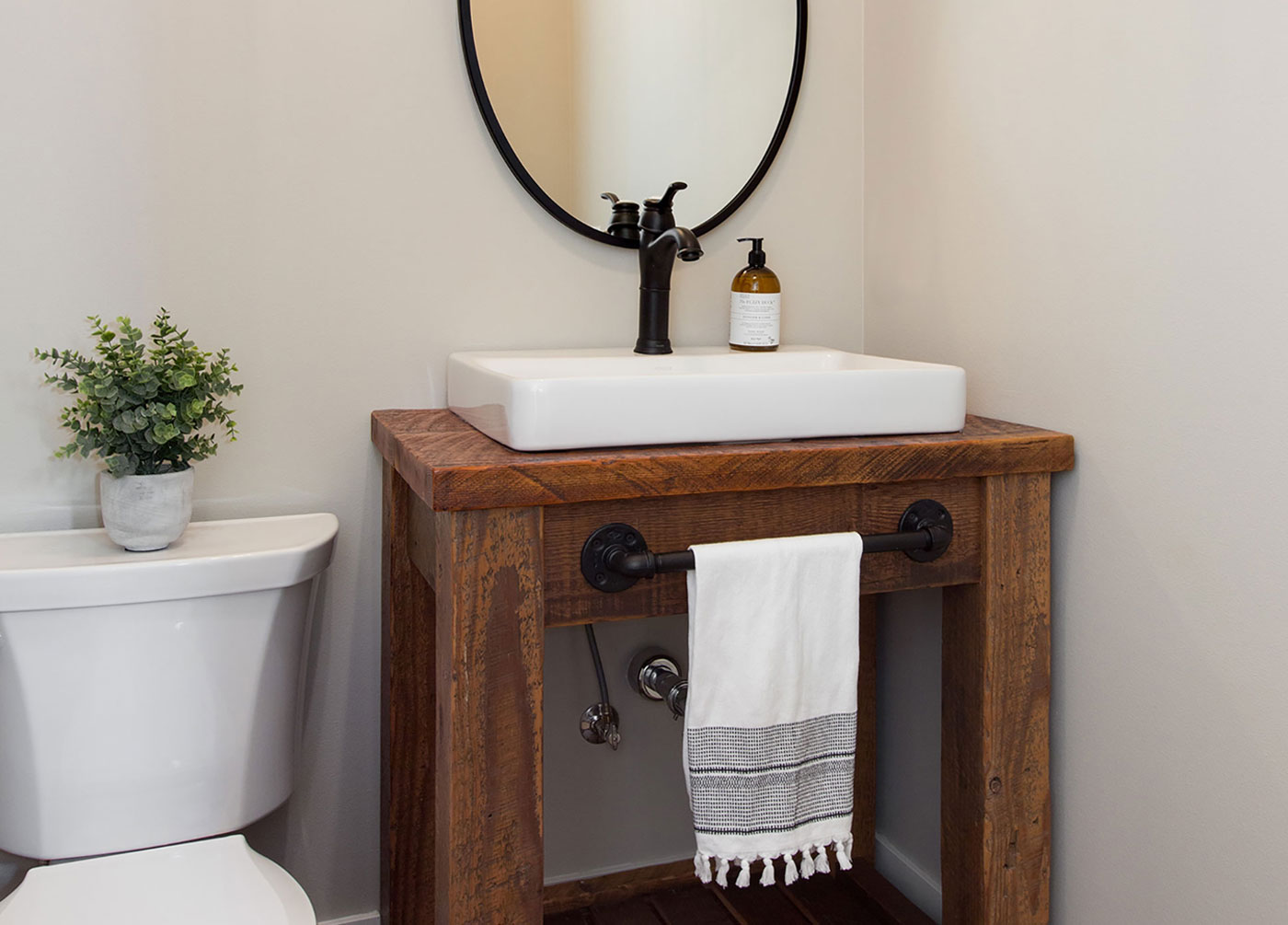 Simply Styled Powder Room Not Missing a Detail