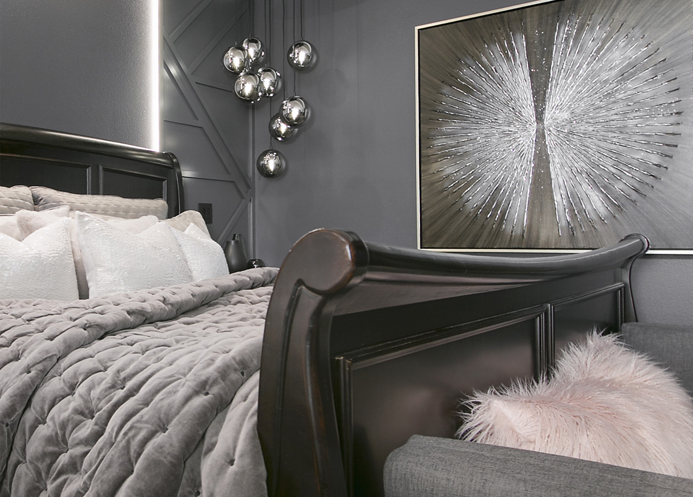 Posh and Moody Master Bedroom Makeover