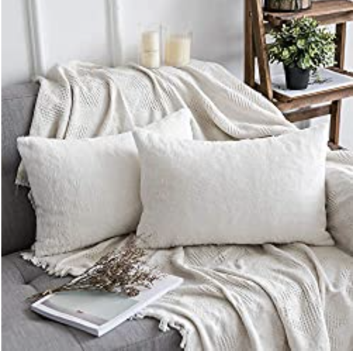 MIULEE Pack of 2 Decorative White Fur Pillow Cover