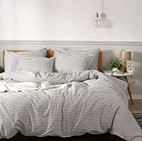 JELLYMONI 100% Natural Cotton 3pcs Striped Duvet Cover Sets