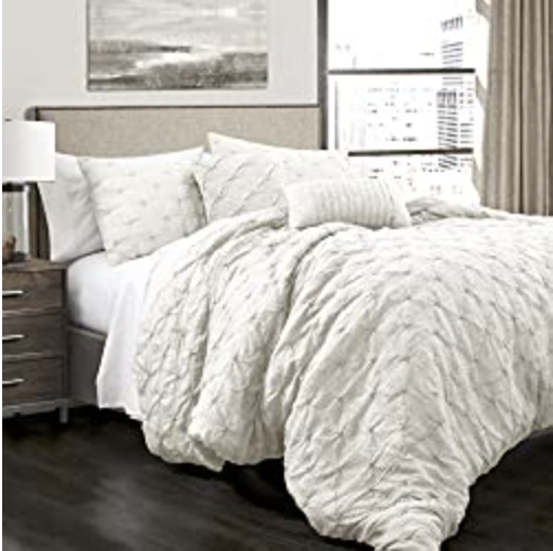 Lush Décor Ravello Shabby Chic Style Pintuck White 5 Piece Comforter