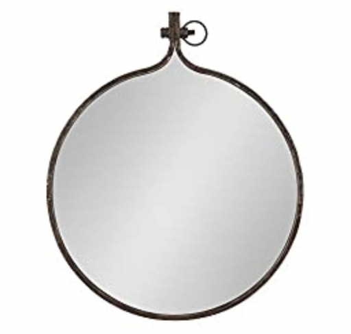 Round Industrial Rustic Metal Framed Wall Mirror