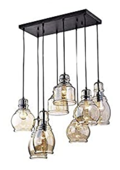 Vintage 8-Lights Island Cognac Glass Cluster Pendant Chandelier