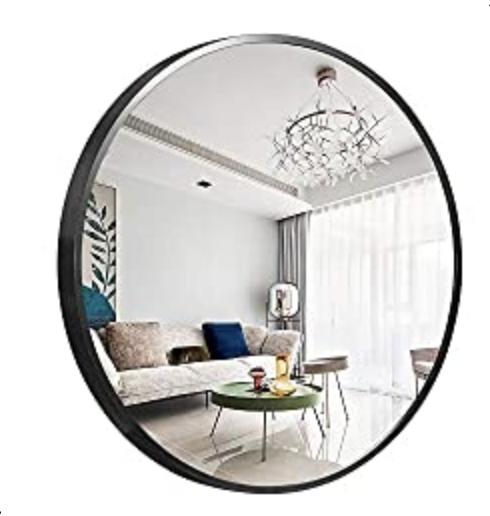 D NeuType Round Mirror Metal Framed Wall-Mounted Mirror Hanging Mirror