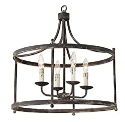 Savannah Estate Iron Pendant Light Round Metal Rustic Chandelier Lighting
