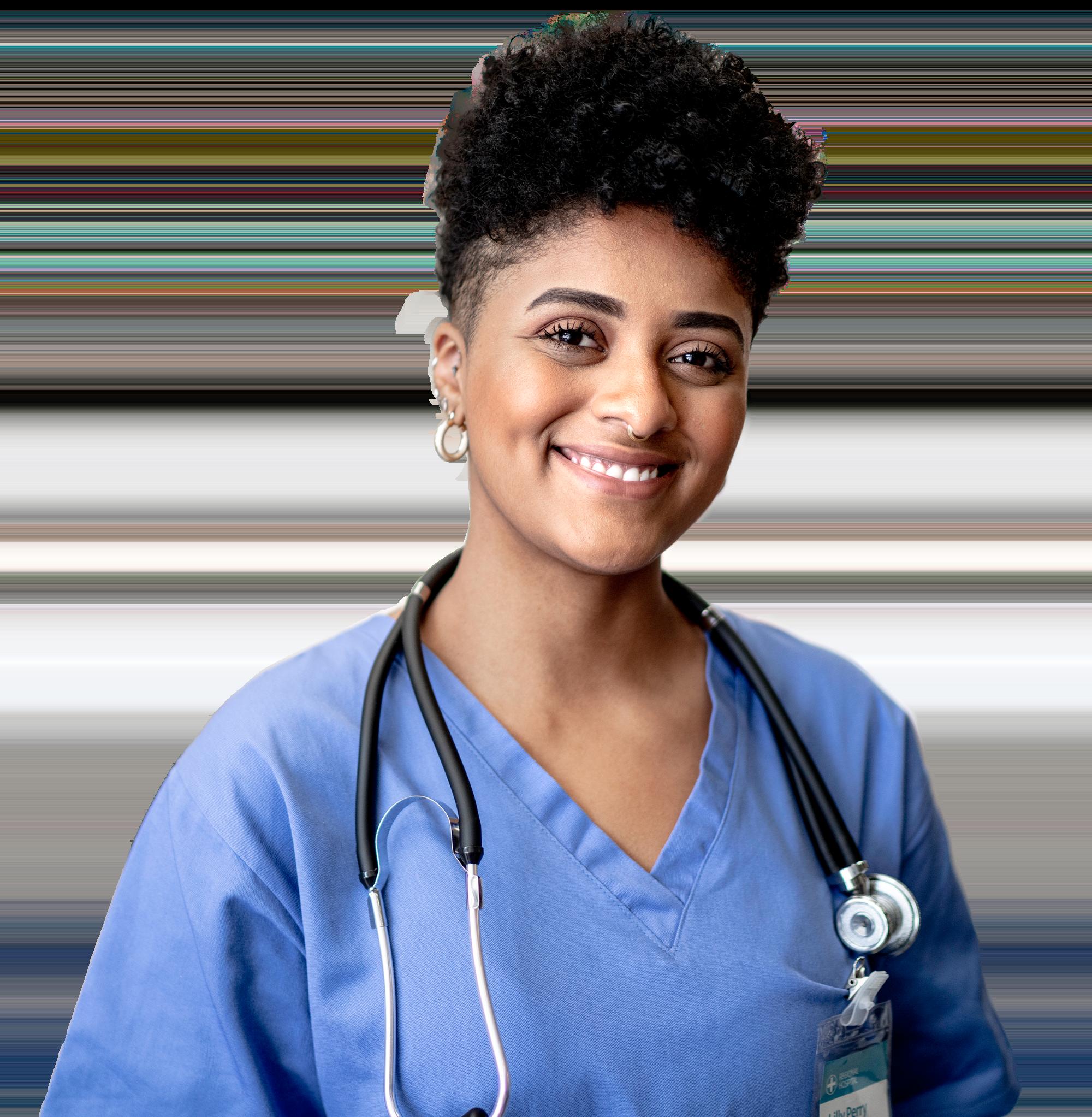 close-up image of a smiling female nurse