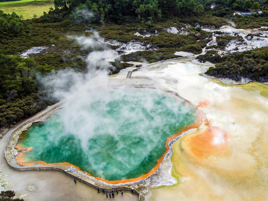 Aerial view of Champagne Pools a prominent feature within the Waiotapu geothermal area in the North Island of New Zealand