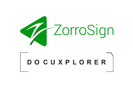DocuXplorer and ZorroSign Integration Logos