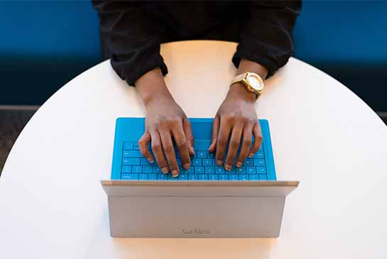 searching on laptop