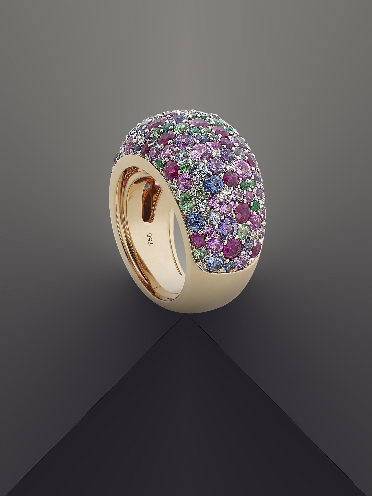 image d'une bague boule sertie de diamants de couleur