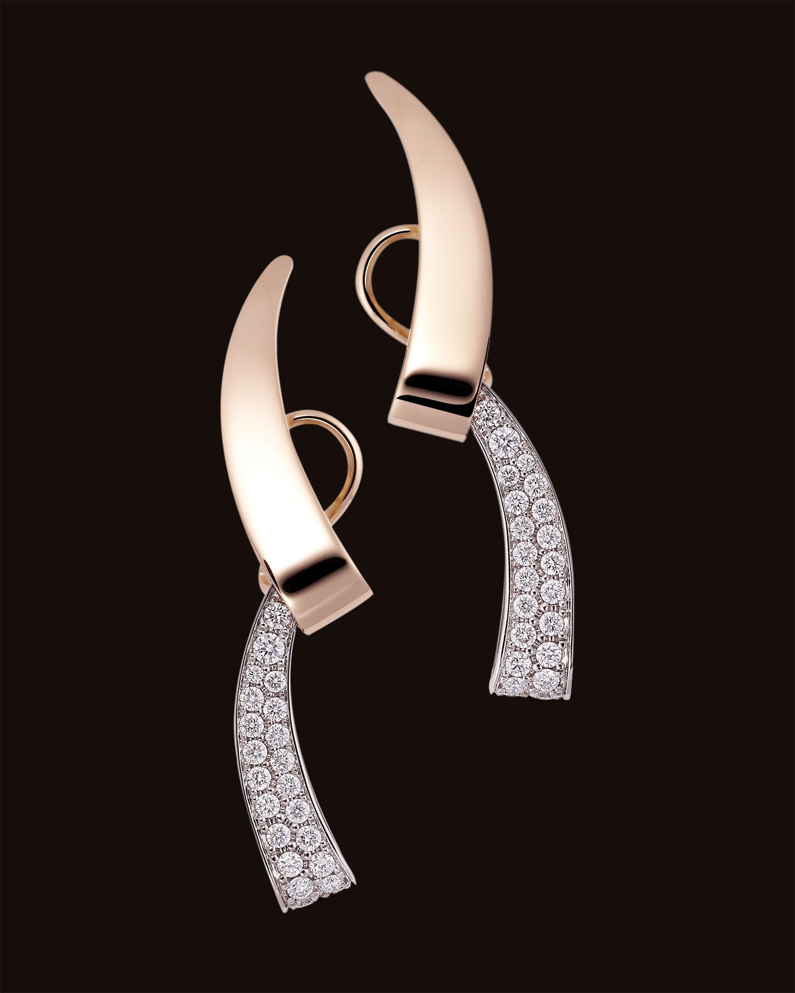 boucles d'oreilles haute joaillerie or serti de diamants