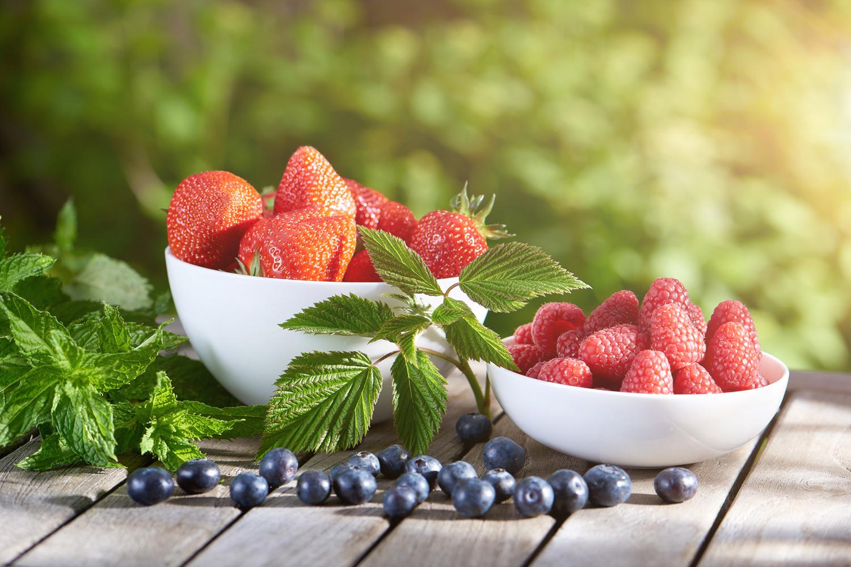 Erdbeeren, Himbeeren und Heidelbeeren