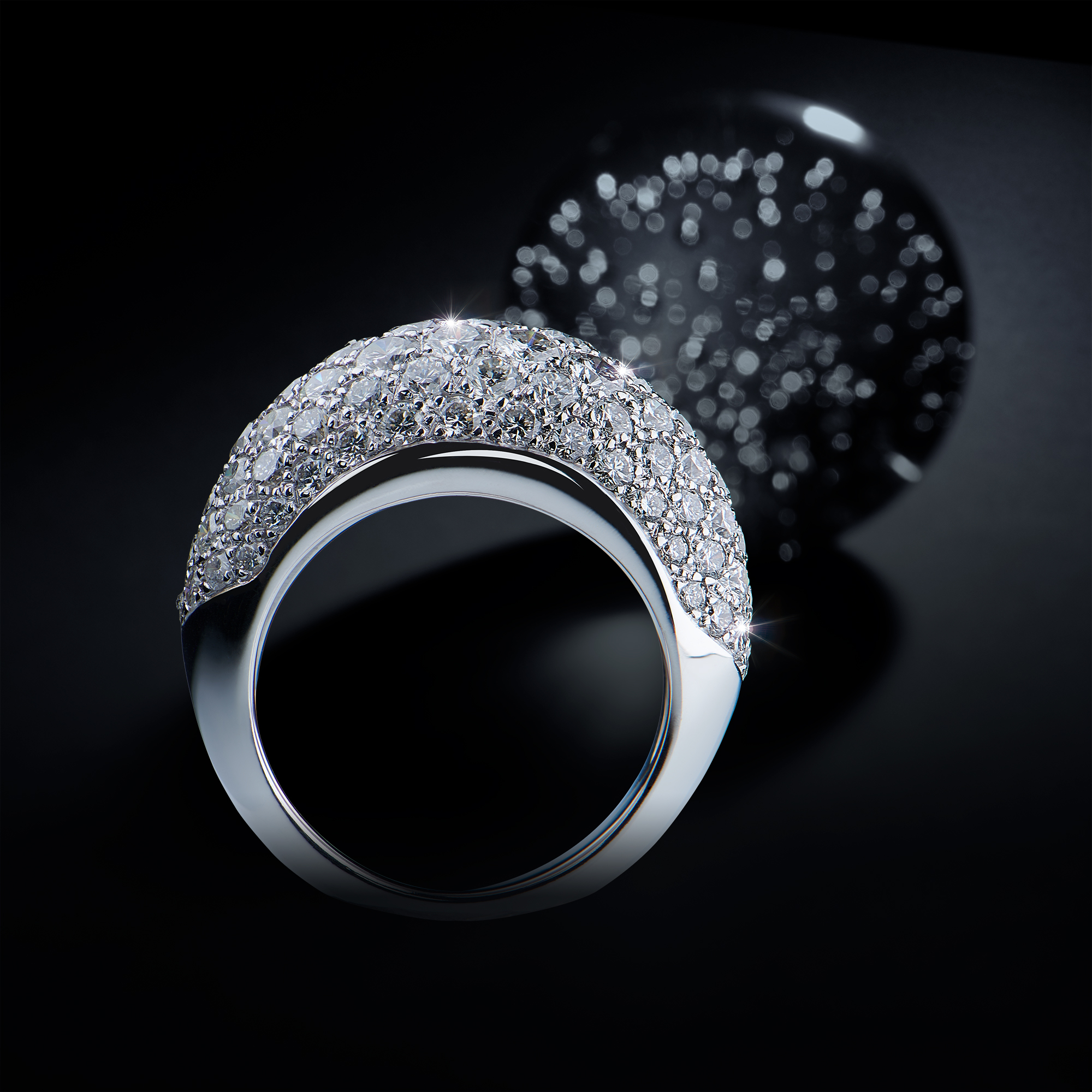 Photo créative d'une bague sertie de diamants, snow ring