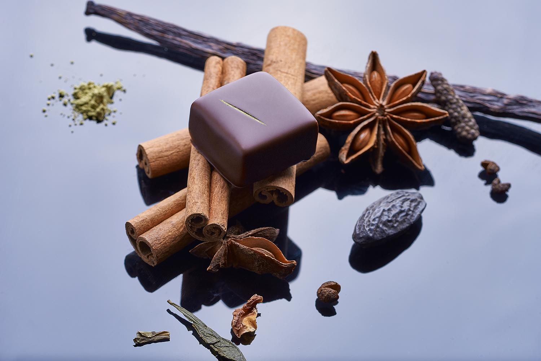 Kulinarische Fotografie von Schokoladenpralinen lemarquis lausanne
