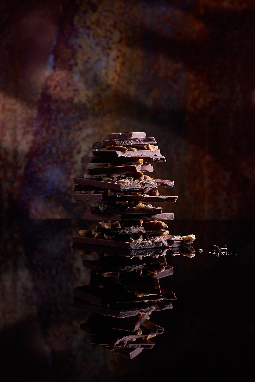 kulinarisches Bild Stillleben Stapeln von Schokoladenstücken