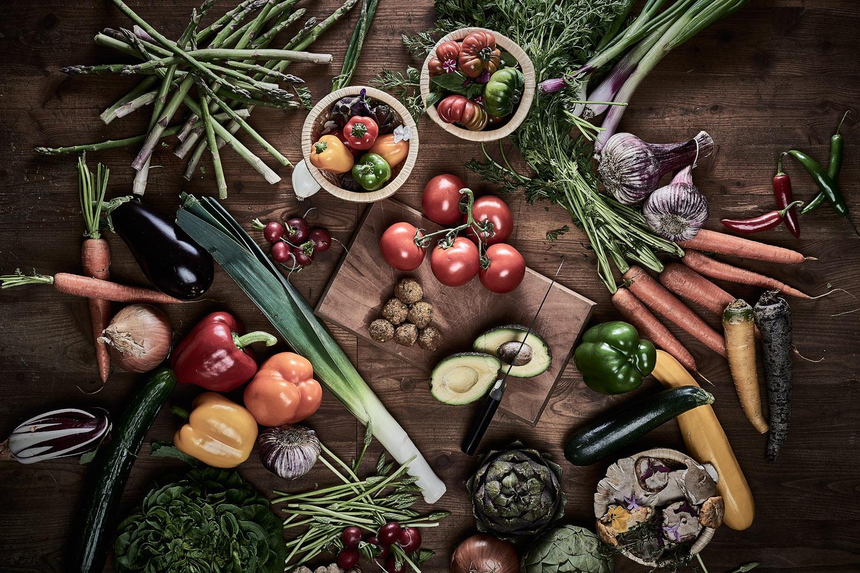 kulinarische Aufnahmen von Bio-Gemüse