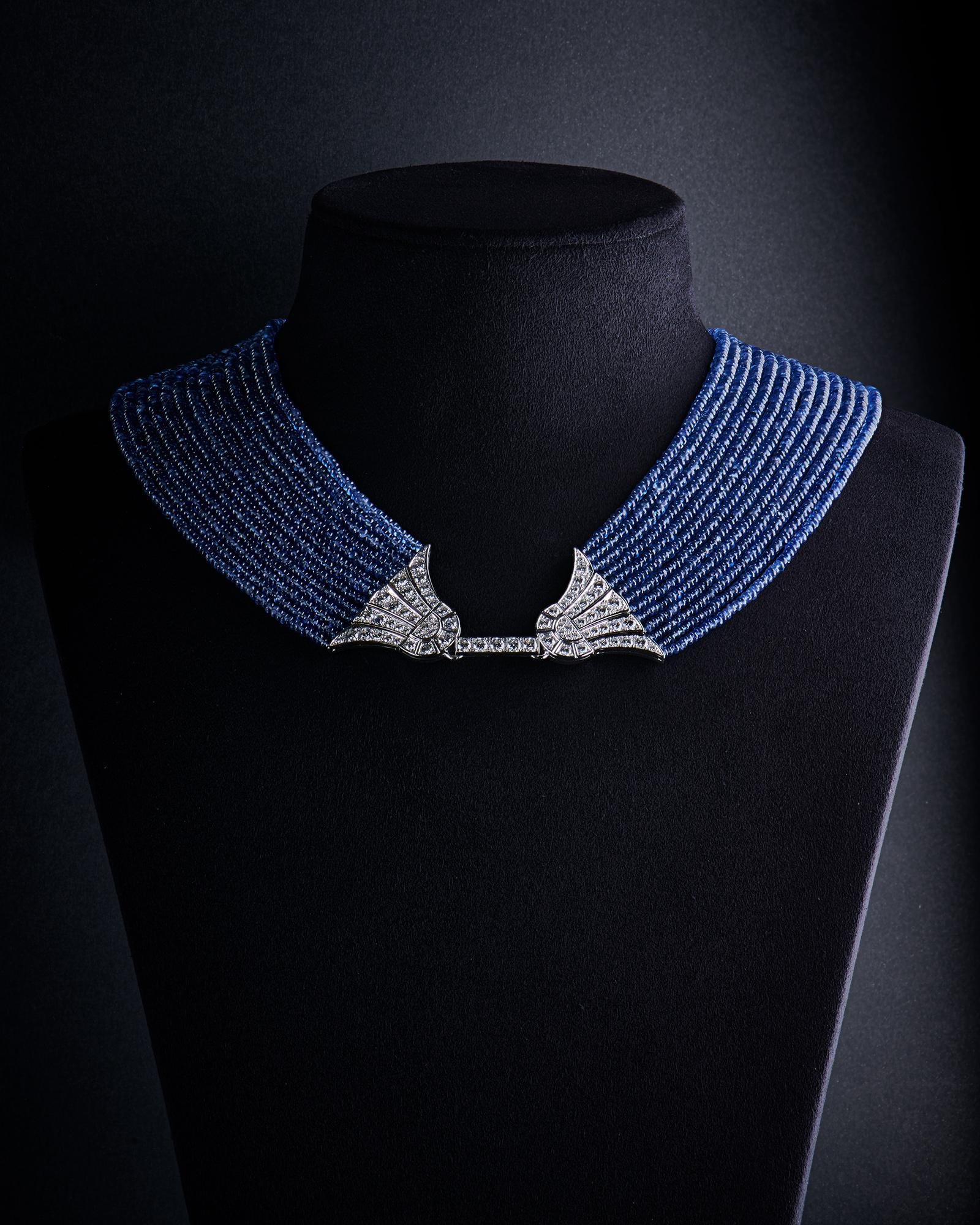 collier bleu fermoir argent