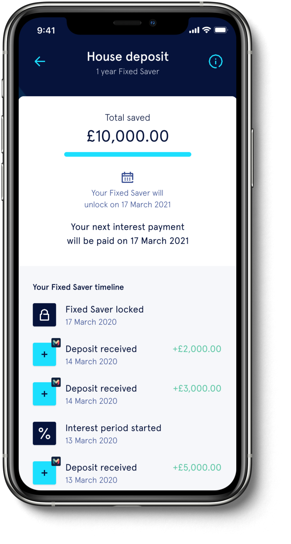 The Tandem App on an iPhone showing an account balance and details