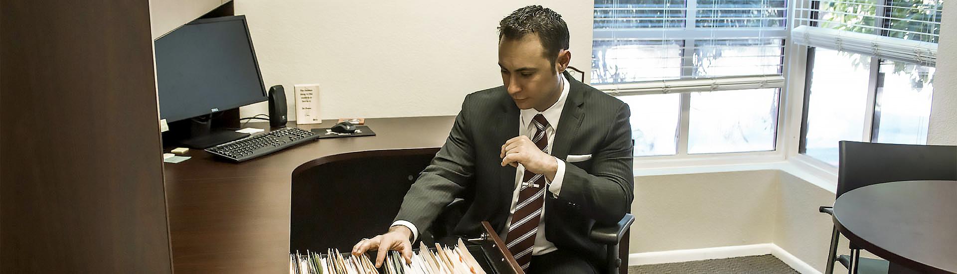 Attorney Armando Nava at his desk