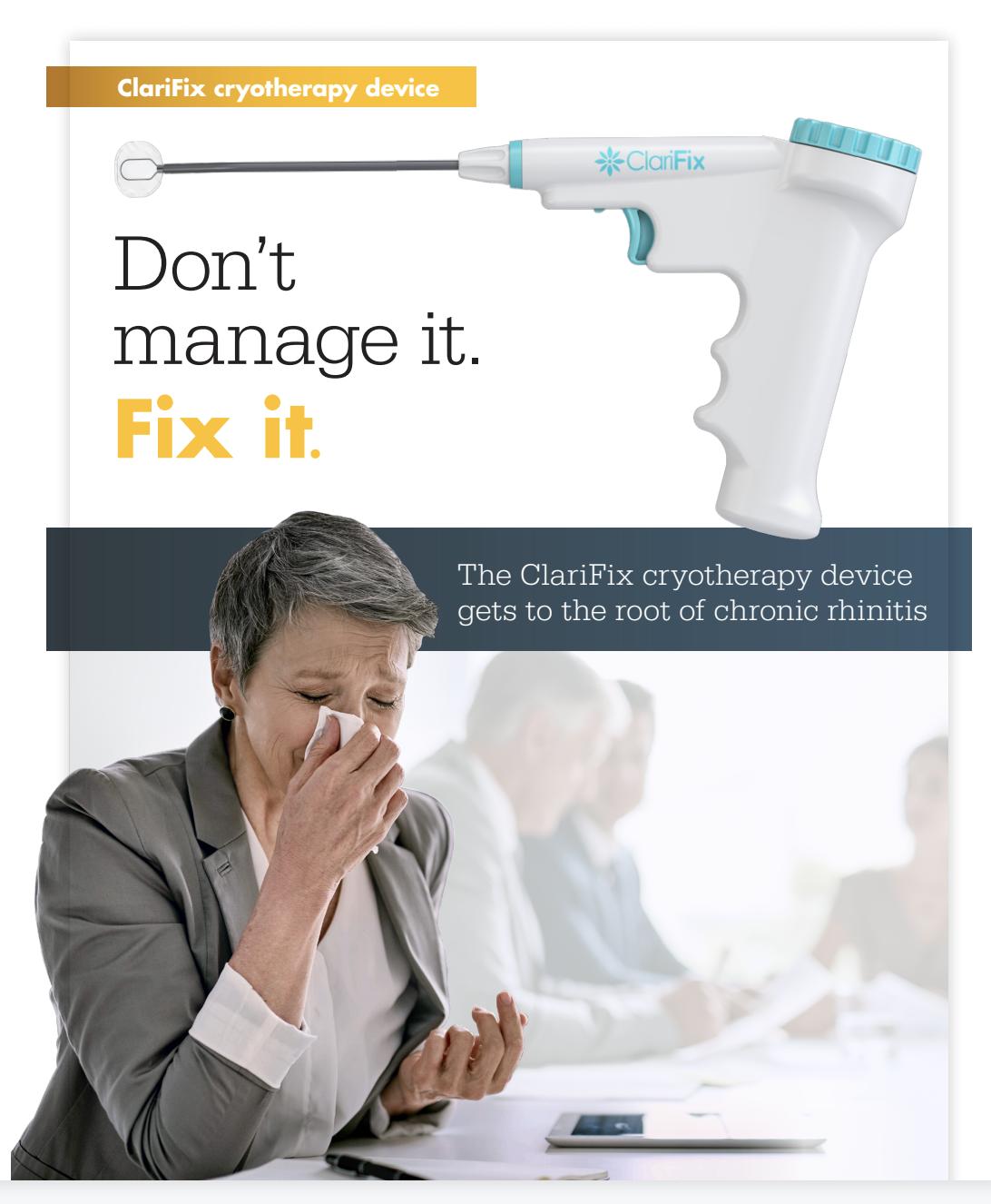 ClariFix® cryotherapy for rhinitis treatment
